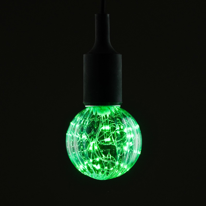 "Лампа светодиодная декоративная ""Шар"", G80, 3 Вт, E27, 105х80, зеленый"
