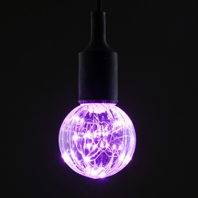 "Лампа светодиодная декоративная ""Шар"", G80, 3 Вт, E27, 105х80, розовый"