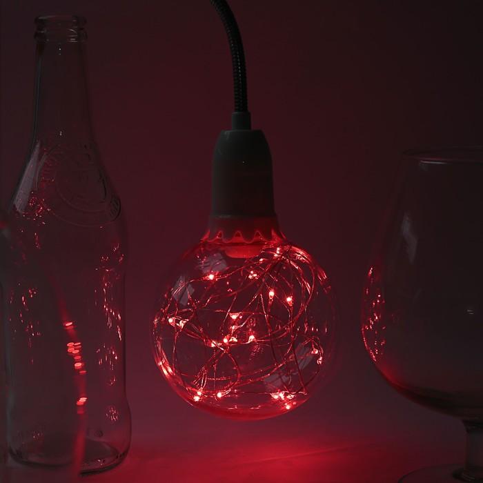 "Лампа светодиодная декоративная ""Шар"", G105, 3 Вт, E27, 125х105, красный"
