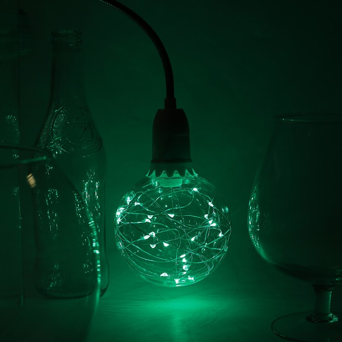 "Лампа светодиодная декоративная ""Шар"", G105, 3 Вт, E27, 125х105, зеленый"