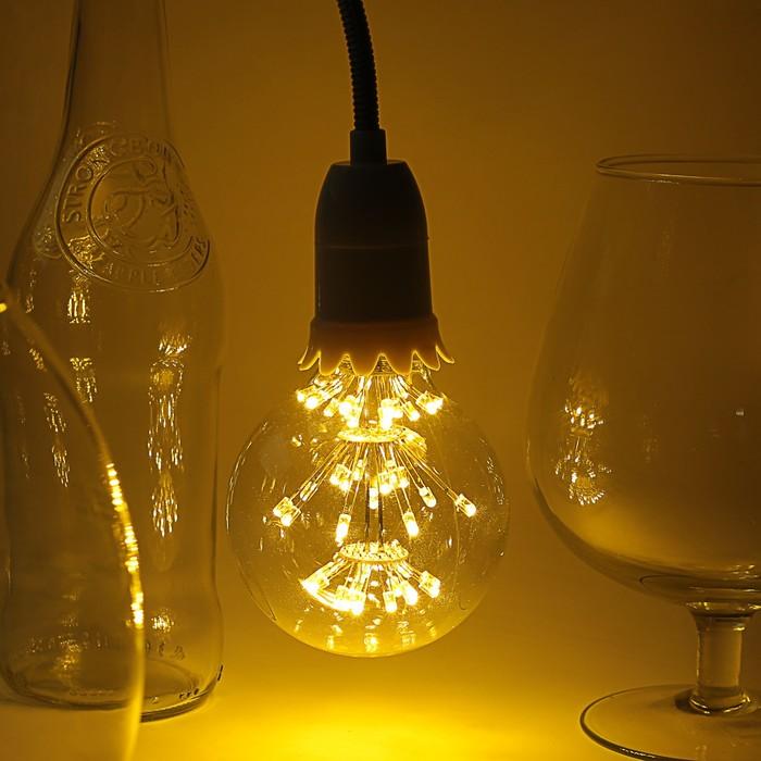 "Лампа светодиодная декоративная ""Шар"", G80, 3 Вт, E27, 120х80, теплый белый"