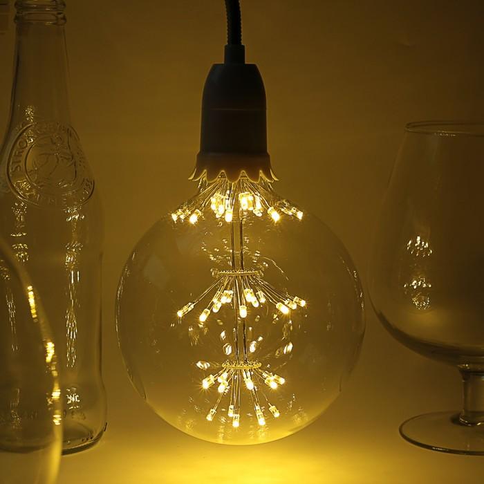 "Лампа светодиодная декоративная ""Шар"", G125, 3 Вт, E27, 170х125, теплый белый"