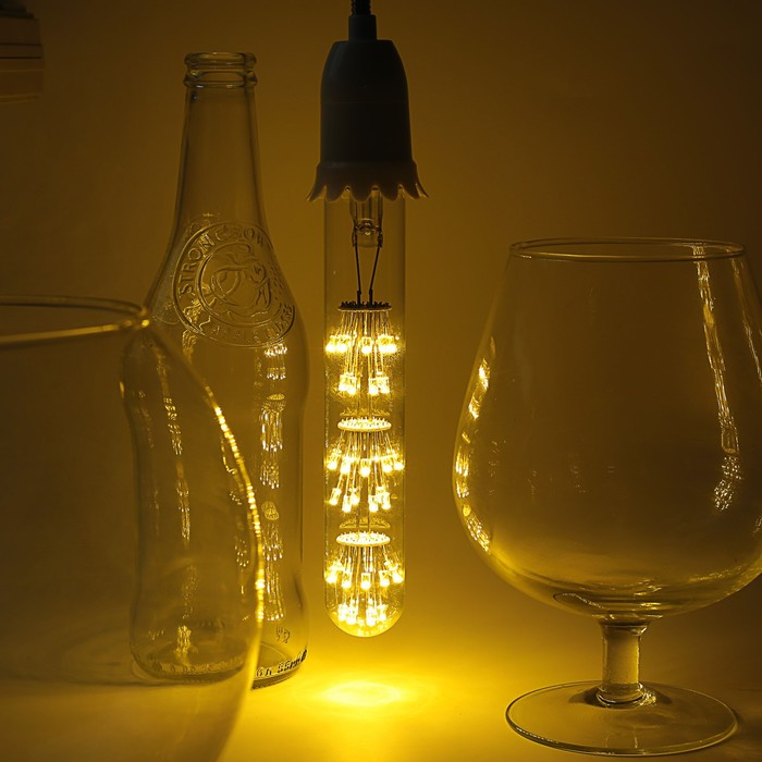 "Лампа светодиодная декоративная ""Колба"", T185, 3 Вт, E27, 185х30, теплый белый"