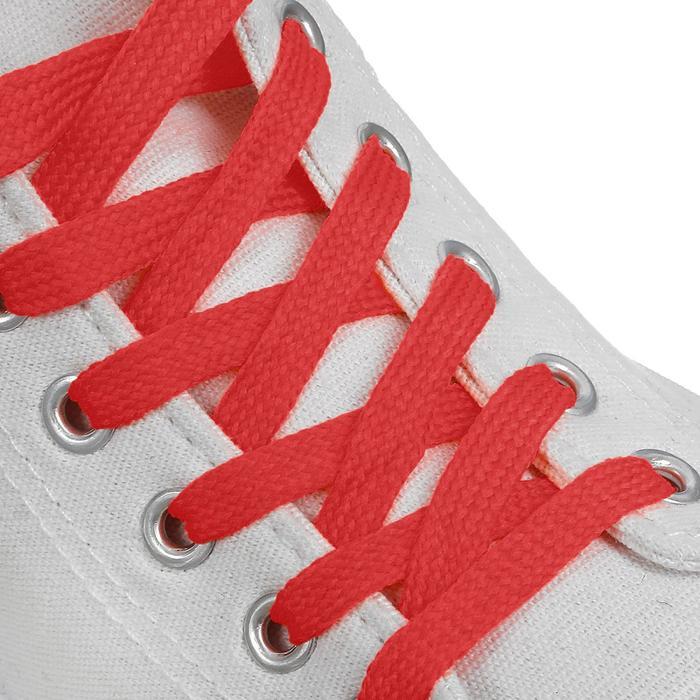 Шнурки для обуви, пара, плоские, 10 мм, 120 см, цвет красный