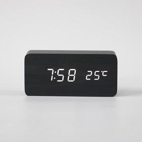 """Часы электронные """"Кержан"""" с термометром, настольные, белые цифры, 15х7 см"""