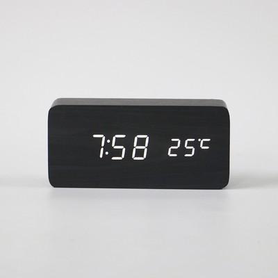 """Часы электронные """"Кержан"""" с термометром и гидрометром, настольные, белые цифры, 15х7 см"""