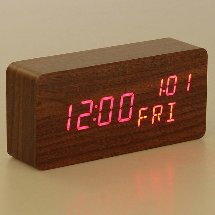 """Часы электронные """"Кержан"""", настольные, красные цифры, 15х7 см"""