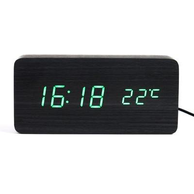 """Часы электронные """"Кержан"""", настольные, зелёные цифры, 15х7 см"""