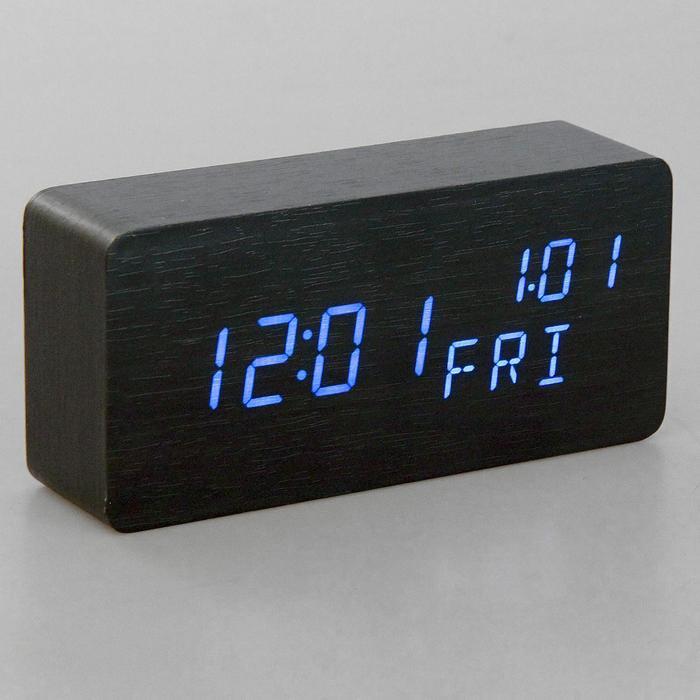 Часы настольные электронные, время, дата, день недели, синие цифры, 15*7см