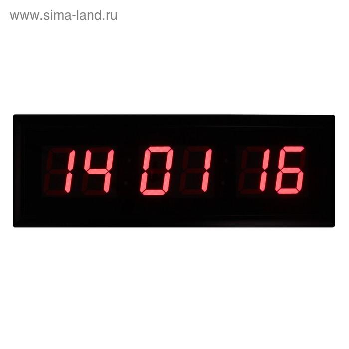 Электронные часы, только время, пульт в комп-те, цифры красные, от сети 110*38,5 см