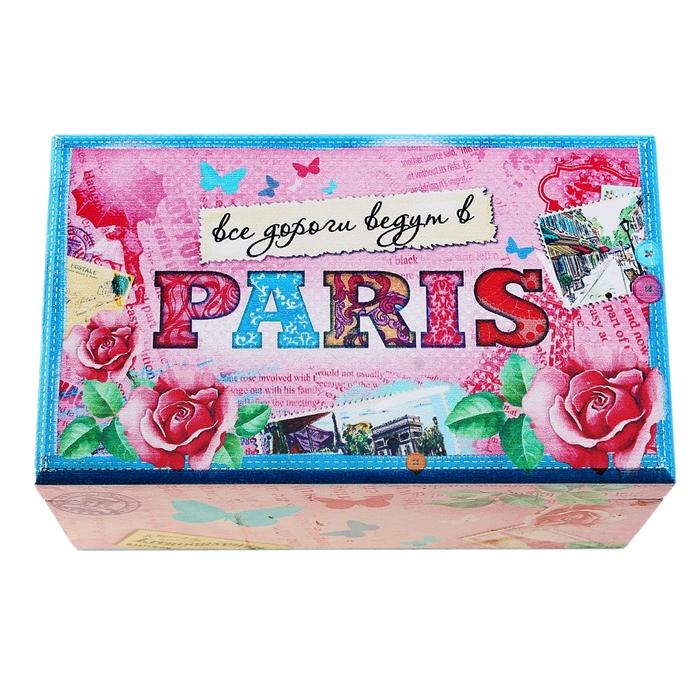 """Шкатулка деревянная с зеркалом """"Все дороги ведут в Париж"""""""