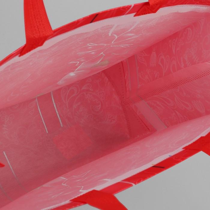 Сумка хозяйственная «Бантик», отдел без молнии, цвет красный