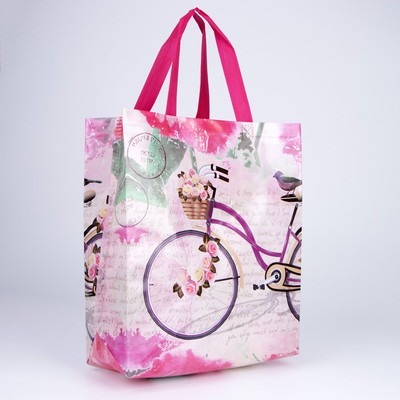 Bag shopping, Department without zipper, grey/pink