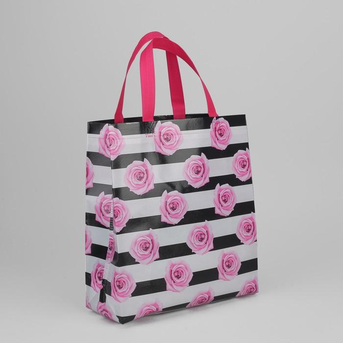 Сумка хозяйственная «Розы», отдел без молнии, цвет чёрно-белый/розовый