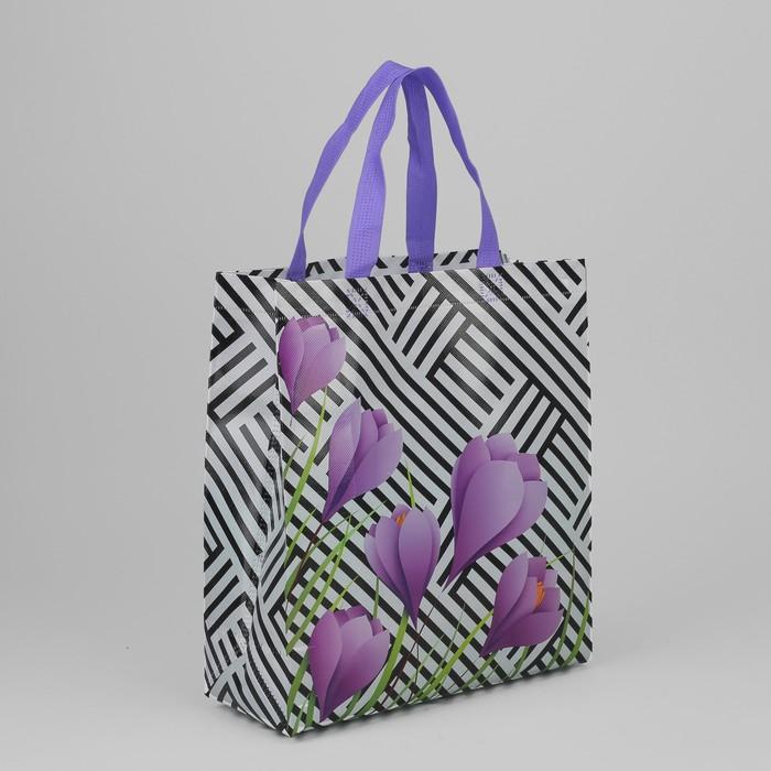 Сумка хозяйственная «Прогулка», отдел без молнии, цвет чёрно-белый/фиолетовый