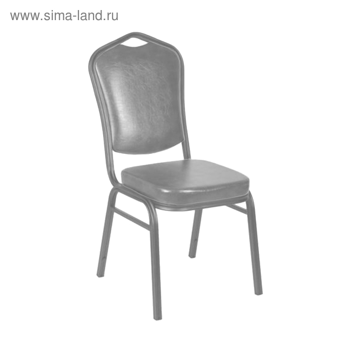 Банкетный стул 25 мм, каркас серебро, обивка кожзам серый