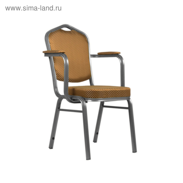Банкетный стул с подлокотниками 25 мм, каркас серебро, обивка корона коричневая