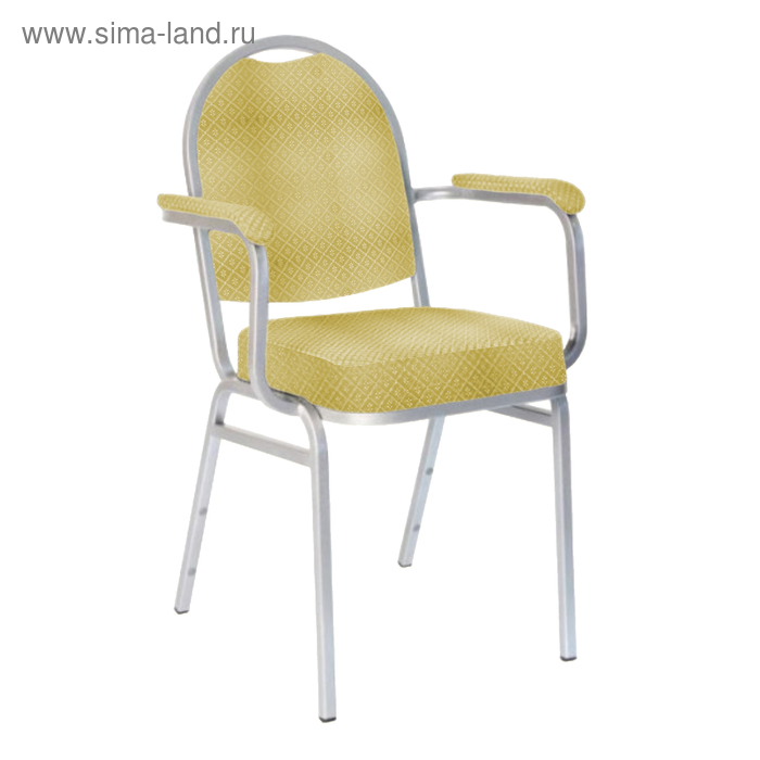 """Банкетный стул """"Азия"""" с подлокотниками 20 мм, каркас золото, обивка ромб бежевый"""