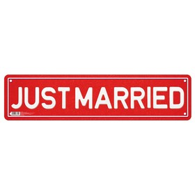 "The sticker with the number ""Justmarried"""