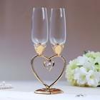 """Набор свадебных бокалов """"Сердце"""", 29 см, золото"""