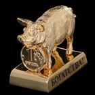 Сувенир «Свинка с монеткой», богатства, 4×2,4×3,8 см, с кристаллами Сваровски