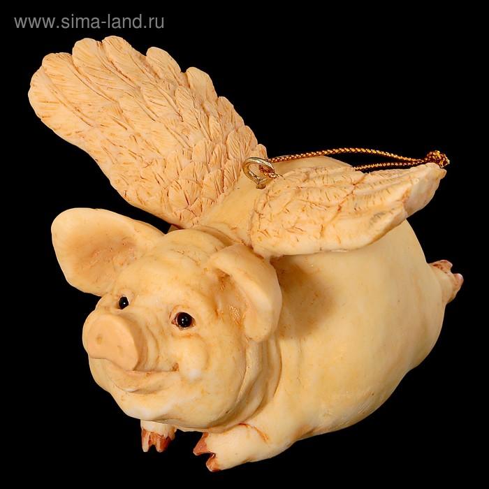 Сувенир «Свинка с крыльями», бежевая, 9,5х10х7,5 см, полистоун