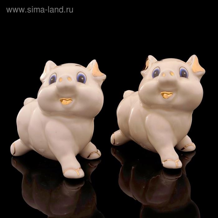 Набор «Счастливая свинка», 2 шт: 8×5×7,5 см, кремовый, фарфор