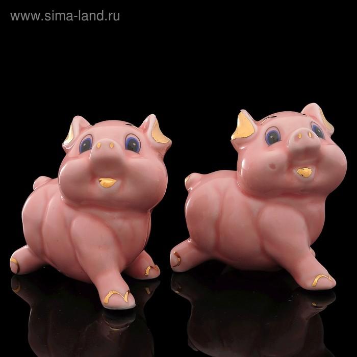 Набор «Счастливая свинка», 2 шт: 8х5х7,5 см, розовый, фарфор