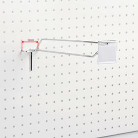 Крючок одинарный с ценникодержателем для перфорации шаг 50мм, L25, d4,8мм, хром Ош