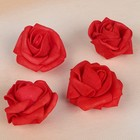 Цветок латексный ,4 штуки, D=4см, красный