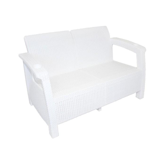 Диван «Ротанг», 127 × 70 × 79 см, без подушек, белый - фото 282121525