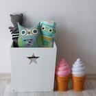 Деревянный ящик для игрушек, 34 х 34 х 30 см,  белый со звёздочкой
