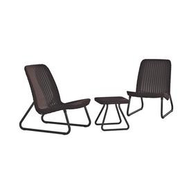 Набор мебели Rio Patio, 3 предмета: стол, 2 кресла, искусственный ротанг, коричневый