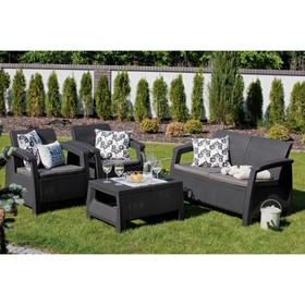 Набор мебели Corfu Set, 4 предмета: стол, диван, 2 кресла, искусственный ротанг, цвет графит
