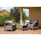 Набор мебели Corfu Set, 4 предмета: стол, диван, 2 кресла, искусственный ротанг, цвет капучино