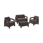 Набор мебели Corfu Set, 4 предмета: стол, диван, 2 кресла, искусственный ротанг, коричневый
