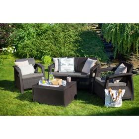 Набор мебели Corfu Box Set, 4 предмета: стол, диван, 2 кресла, искусственный ротанг, цвет коричневый