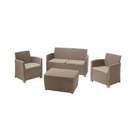 Набор мебели Corona set With cushion box, 4 предмета: стол, диван, 2 кресла, иск. ротанг, капучино