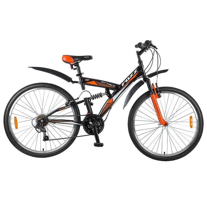 """Велосипед 26"""" Foxx Attack, 2018, цвет черный/оранжевый, размер 18"""""""