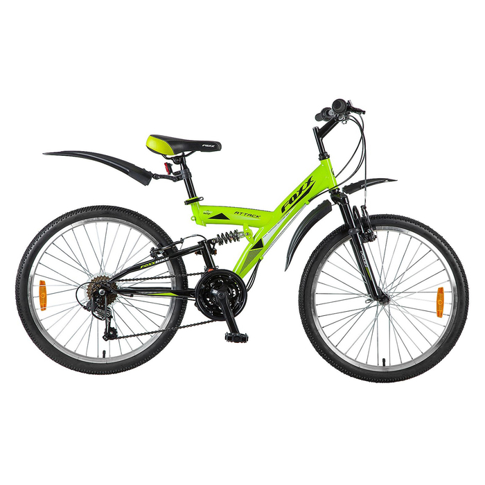 """Велосипед 24"""" Foxx Attack, 2018, цвет зеленый/черный, размер 14"""""""