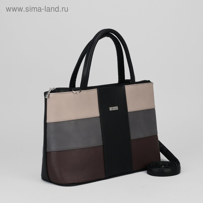 Сумка жен 471, 36*14*24,5, 2отд на молнии, н/карман, коричневый/бежевый