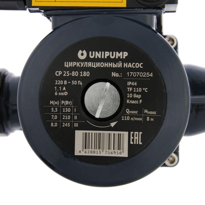Насос циркуляционный UNIPUMP CP 25-80 180, напор 8 м, 110 л/мин, 150/210/245 Вт - фото 14523