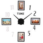 """Часы-наклейка, серия: Фото, """"Решка"""", с фоторамками, чёрно-белые"""