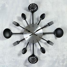 """Часы настенные, серия: Кухня, """"Вилки, ложки, поварешки"""", черные, d=35 см, микс"""