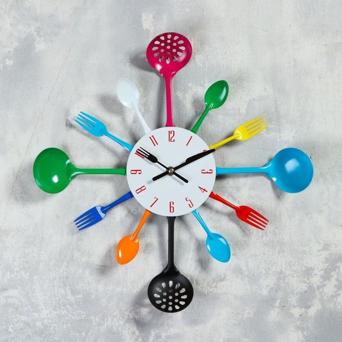 """Часы настенные, серия: Кухня, """"Вилки, ложки, поварешки"""", разноцветные, d=42 см, микс"""
