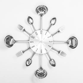 """Часы настенные, серия: Кухня, """"Вилки, ложки, поварешки"""", хром, d=42 см"""