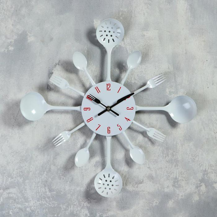 """Часы настенные, серия: Кухня, """"Вилки, ложки, поварешки"""", d=42 см"""