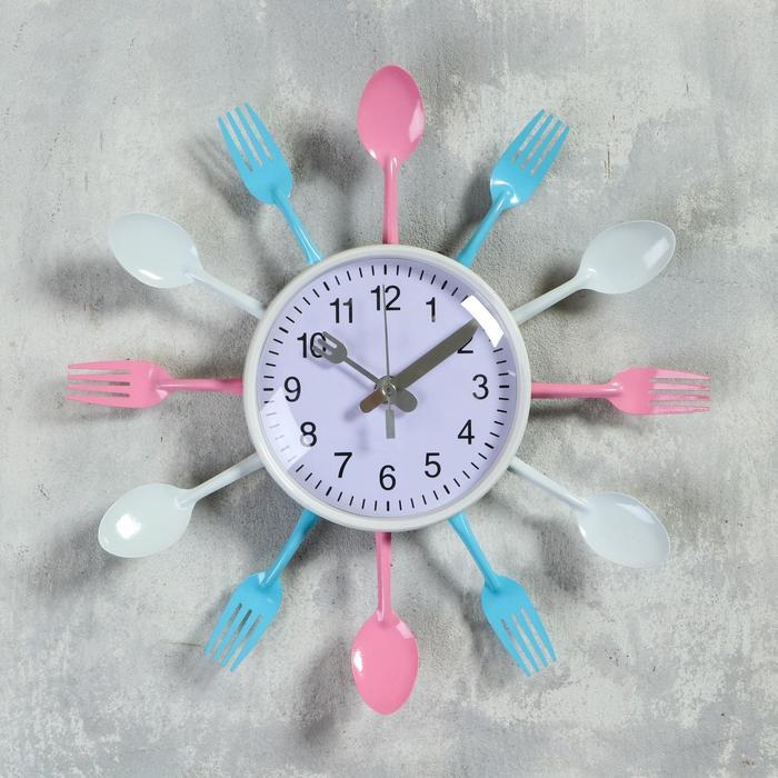 """Часы настенные, серия: Кухня, """"Вилки, ложки, поварешки"""", розово-голубые, d=30 см"""