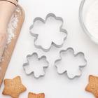 """Набор форм для вырезания печенья 6,5х1,5 см """"Клевер"""", 3 шт - фото 308034090"""