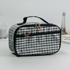 Cosmetic bag-trunk, division zipper, mirror, color black